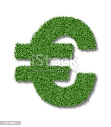 A euro sign in lush green grass on a white background