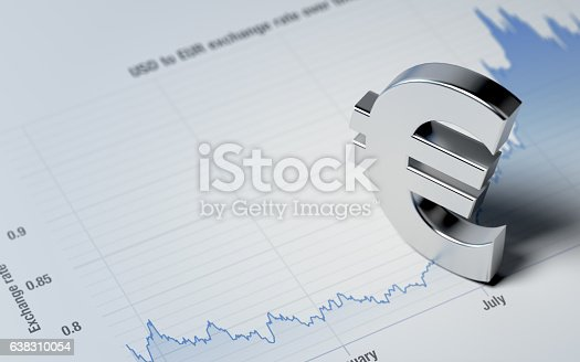 High quality 3d render of a Euro sign on a blue financial chart. Euro sign is made of a reflective metal material and lit by the upper left corner of composition. Horizontal composition with copy space. Great use for  Euro currency and financial concepts.