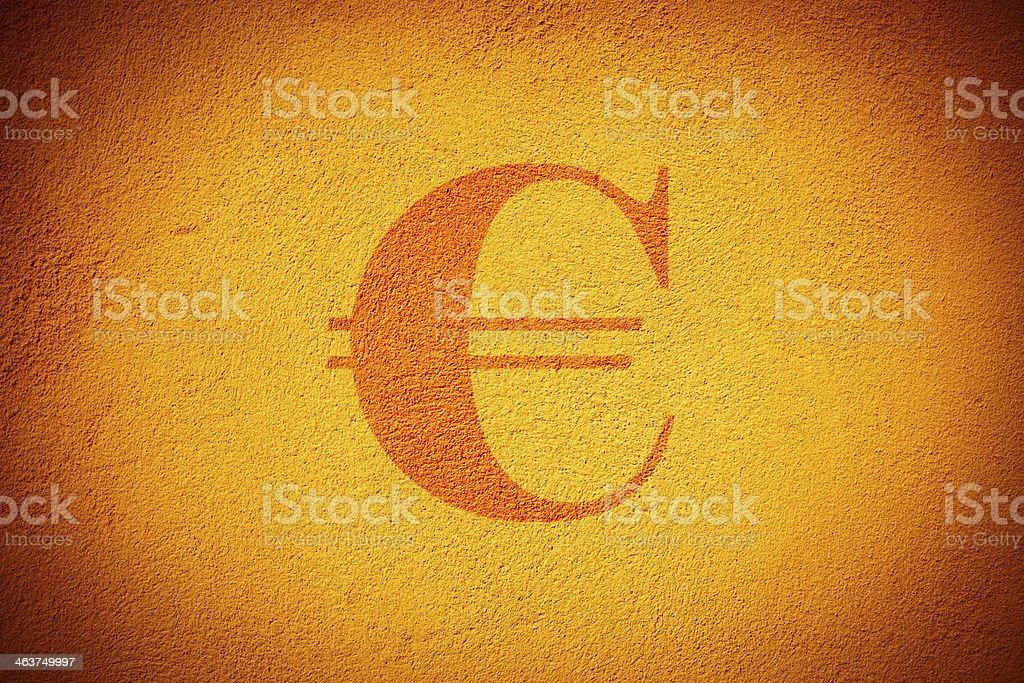 Euro sign on the wall royalty-free stock photo
