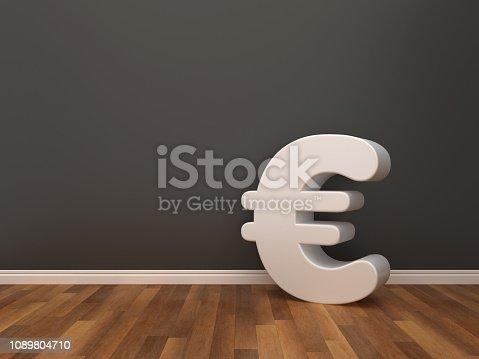 Euro Sign on Wood Floor - 3D Rendering