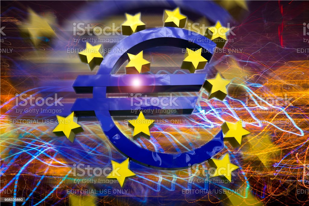 Euro sign sculptural concept abstraction with long exposure.The European Central Bank is the central bank for the euro and administers monetary policy of the eurozone. The headquarter is in Frankfurt, Germany,17 April 2018 stock photo