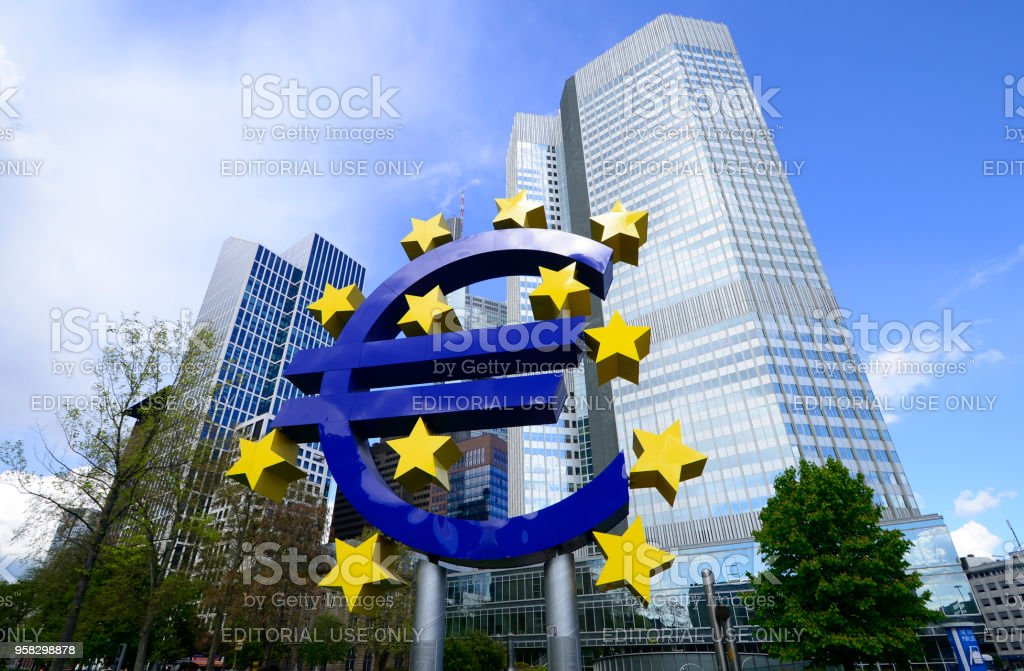 Euro sign sculpture.The European Central Bank is the central bank for the euro and administers monetary policy of the eurozone. The headquarter is in Frankfurt, Germany,March 2016 stock photo