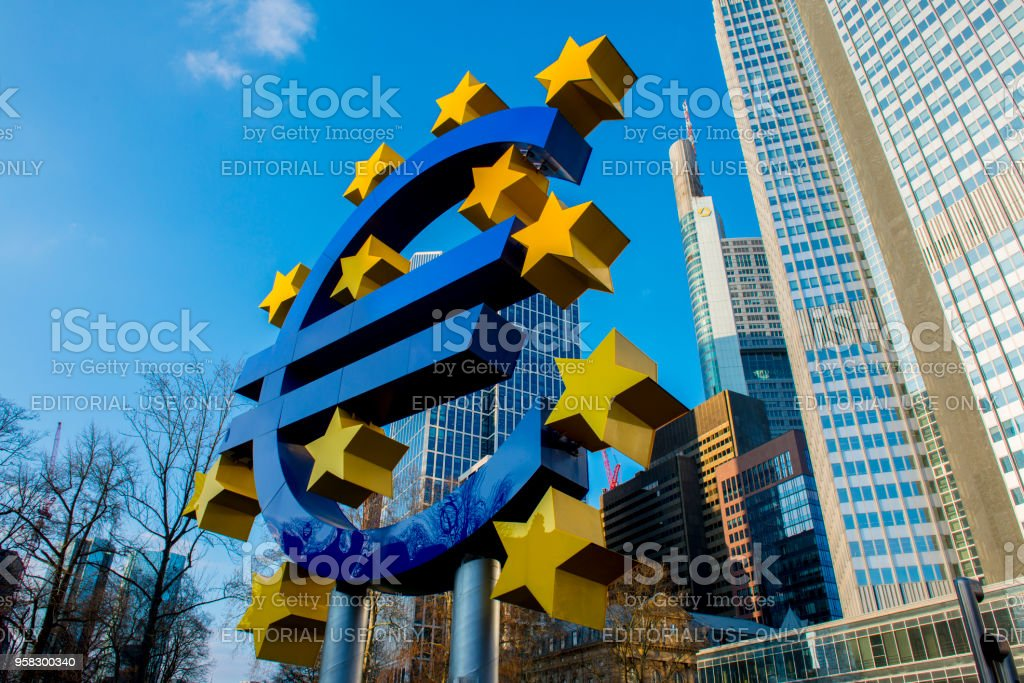Euro sign sculpture.The European Central Bank is the central bank for the euro and administers monetary policy of the eurozone. The headquarter is in Frankfurt, Germany,14 March 2018 stock photo
