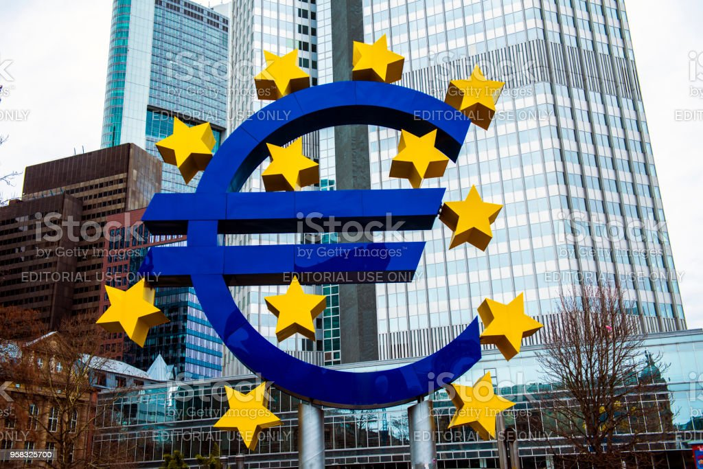 Euro sign sculpture.The European Central Bank is the central bank for the euro and administers monetary policy of the eurozone. The headquarter is in Frankfurt, Germany,11 March 2018 stock photo