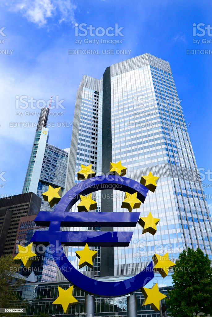 Euro sign sculpture.The European Central Bank is the central bank for the euro and administers monetary policy of the eurozone. The headquarter is in Frankfurt, Germany,28 April 2016 stock photo