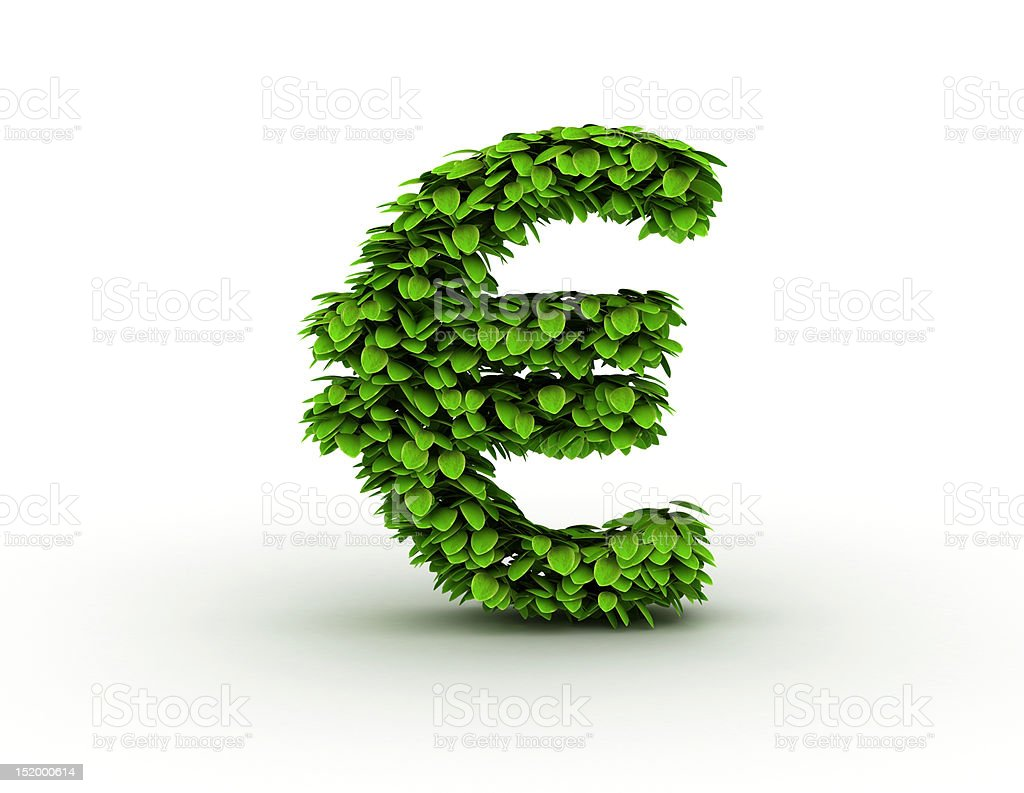 Euro sign with leavs royalty-free stock photo