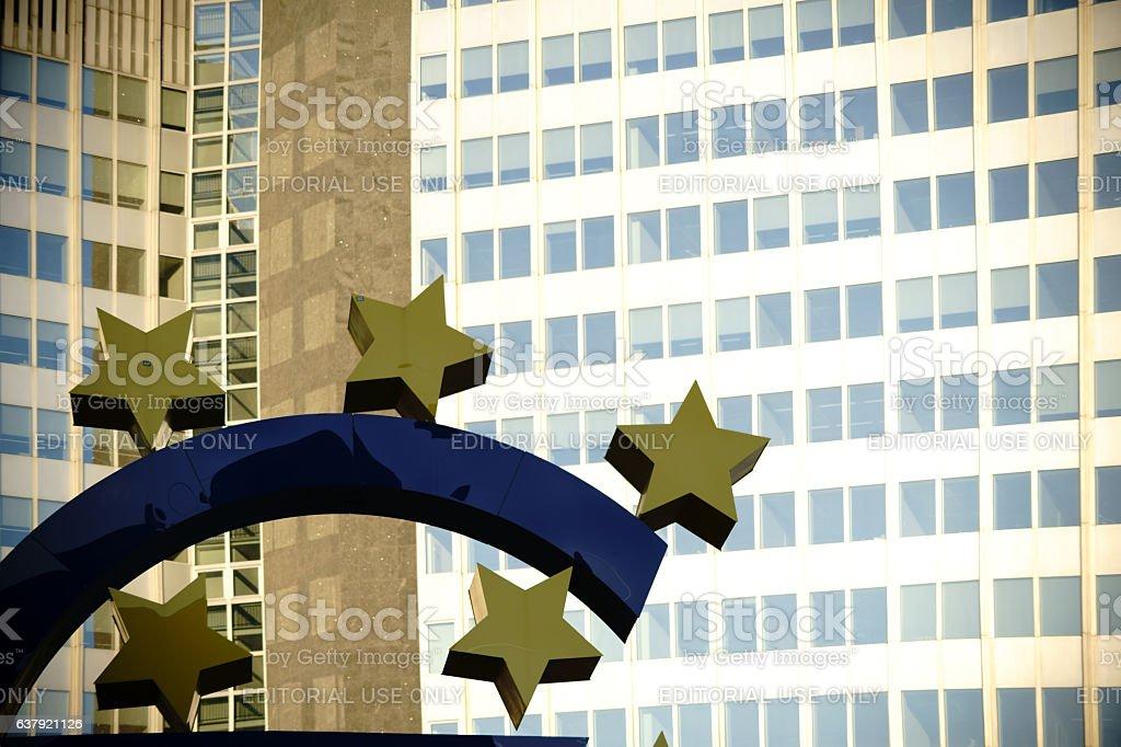 Euro skulpture Frankfurt stock photo