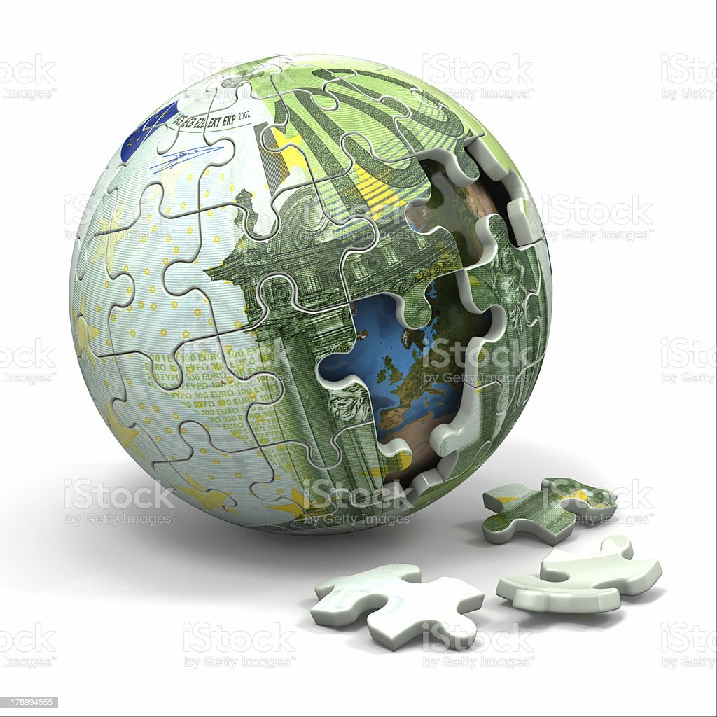Euro sphere from puzzle. Conceptual image. royalty-free stock photo