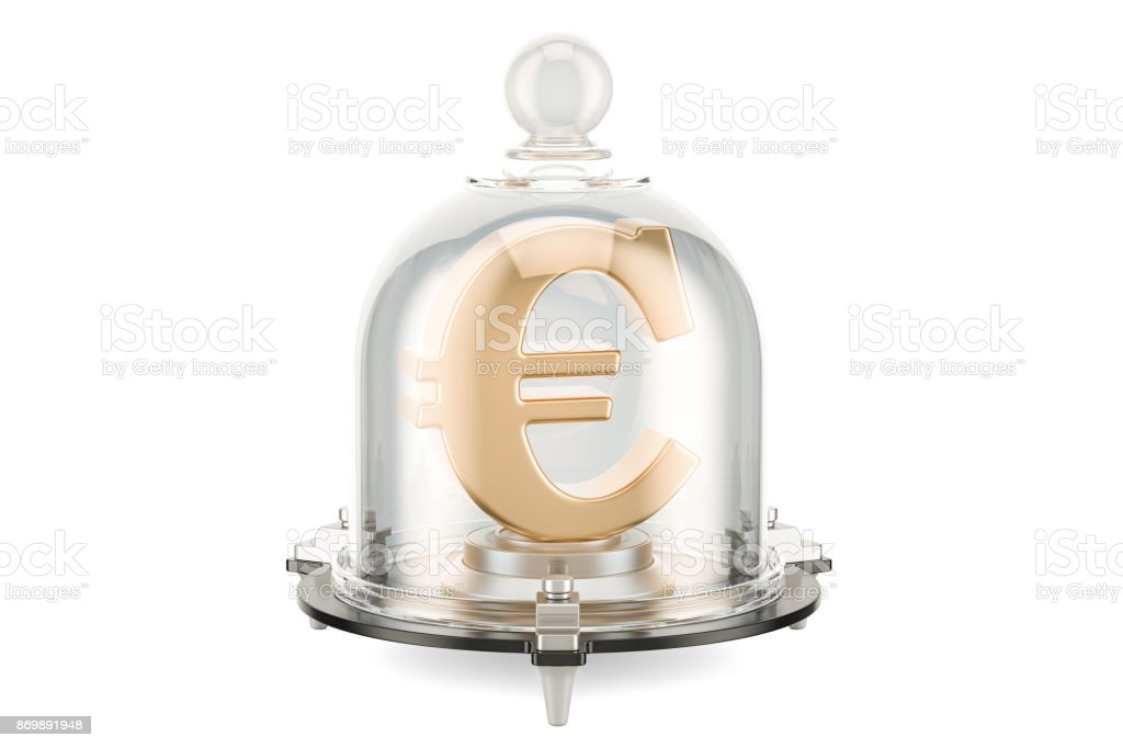 Euro symbol covered by glass bell, financial insurance concept. 3D rendering stock photo