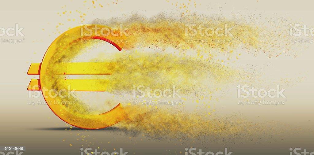Euro Symbol Disintegrate stock photo