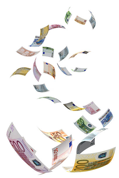 Euro Symbol Fall Euro Symbol Fall - Rain Money european currency stock pictures, royalty-free photos & images