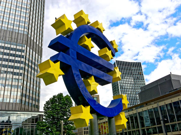Euro symbol in Frankfurt stock photo