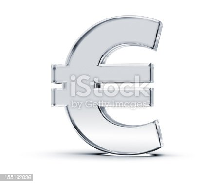 3D rendering of Euro Symbol made of transparent glass with Shades and Shadow isolated on white background.