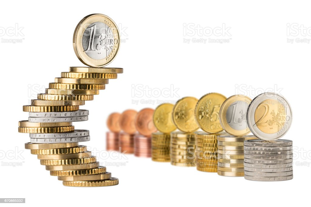 euro symbol stack row stock photo