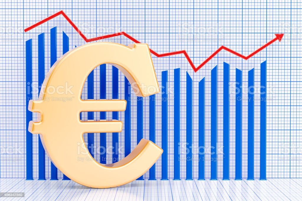 Euro symbol with growing chart. 3D rendering stock photo