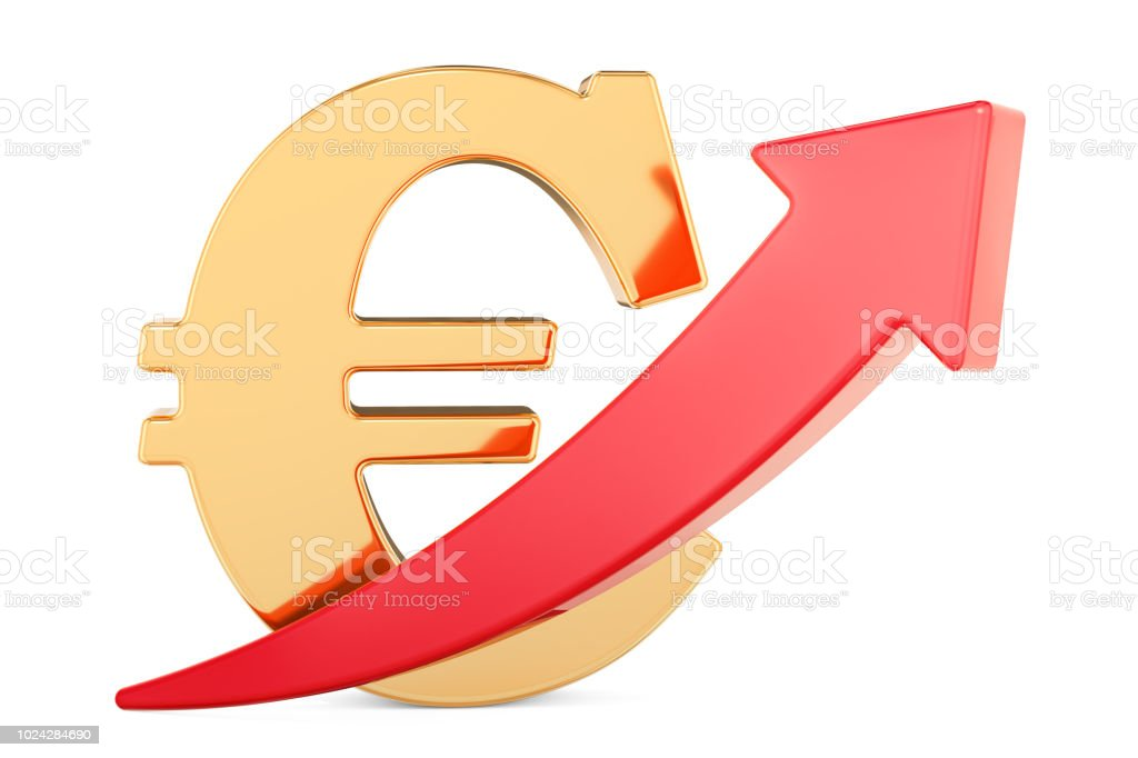 Euro symbol with red arrow up, 3D rendering isolated on white background stock photo