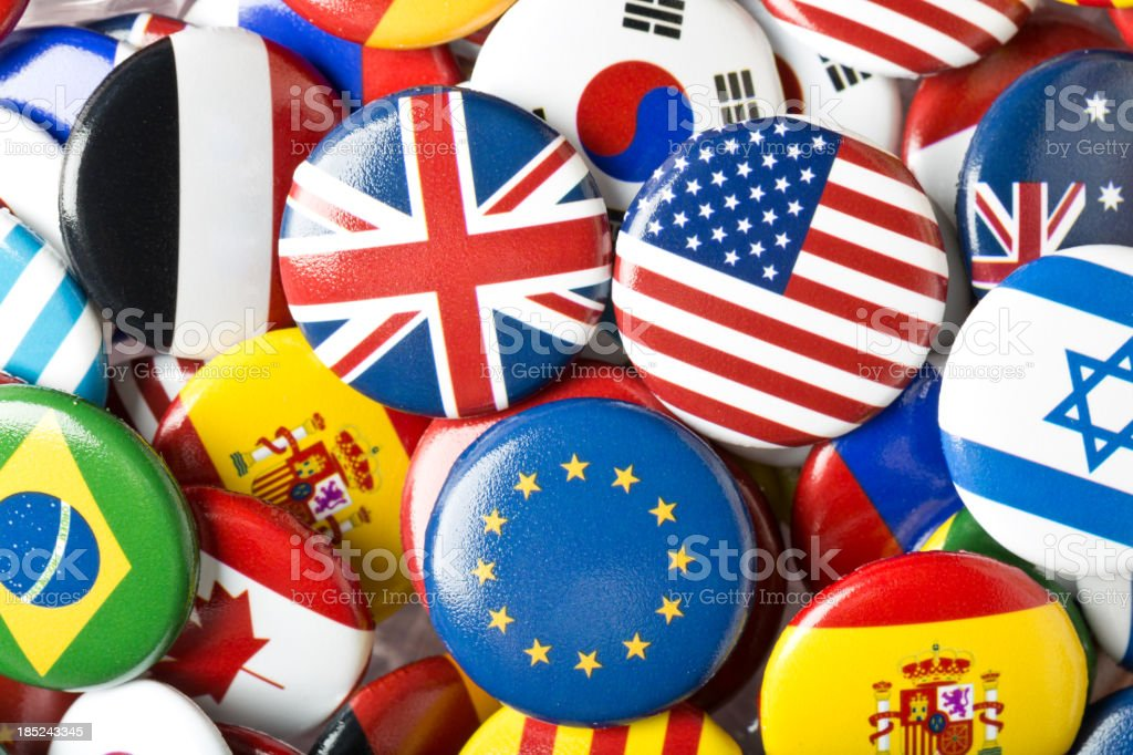 Euro UK USA Flag Pin Collection stock photo