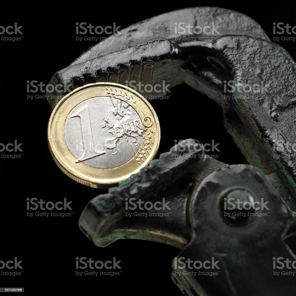 Euro under pressure royalty-free stock photo