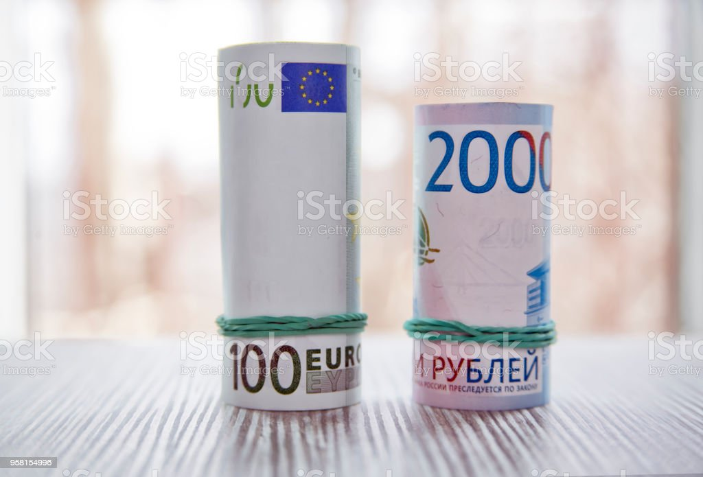 Euro vs Ruble stock photo