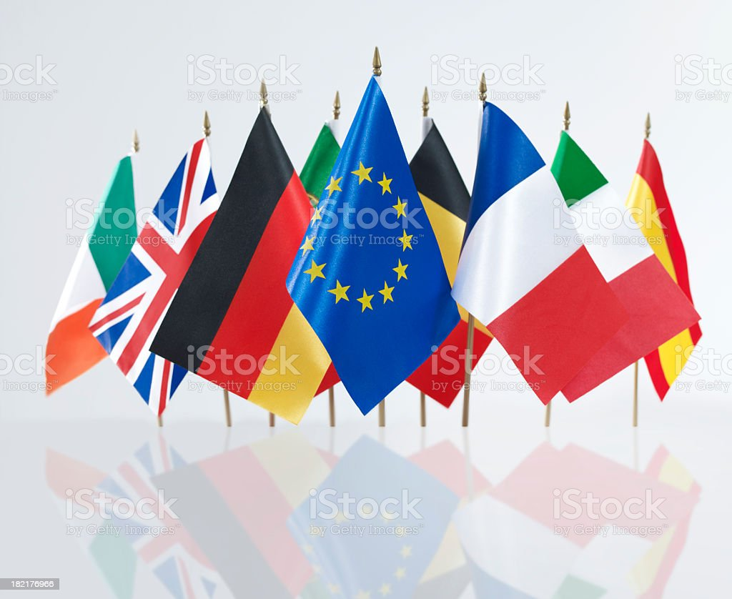 Euro Zone International Flags royalty-free stock photo