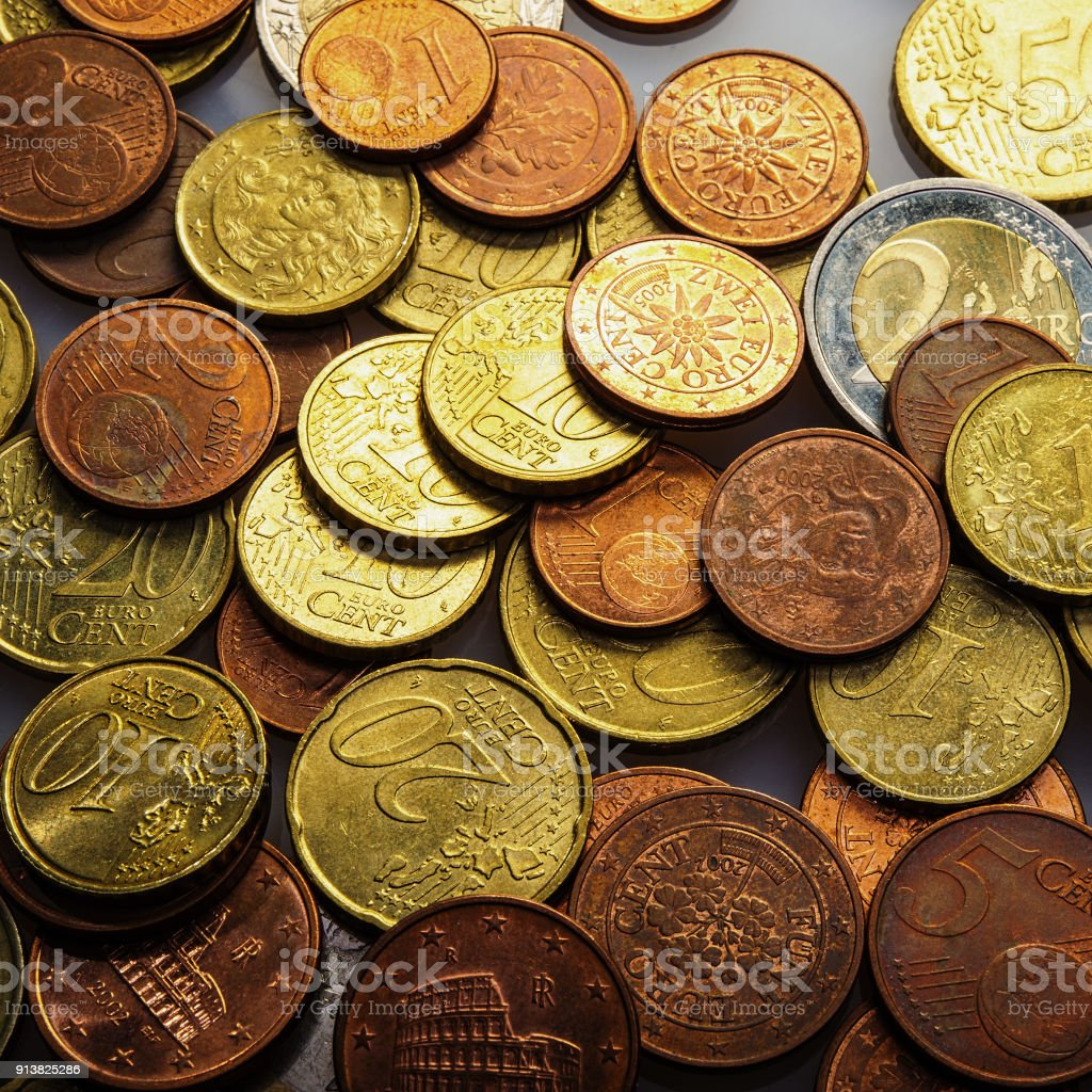 Eurocent coins. stock photo