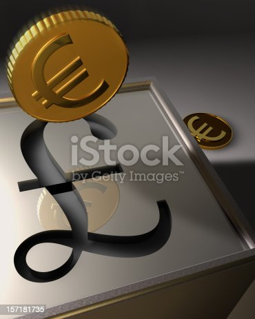 A 3D rendering of euros depicted as stylized golden colored coins entering a British Pound bank. The horizontal bar in the British Pound symbol doubles as the slot to the sterling colored box-shaped bank or safe box. The falling coin is aligned to drop into this slot. In the background is another euro-coin that can be seen as not yet deposited into the bank or as one coin that missed the slot and bounced off. The notion of converting currency is also impied.