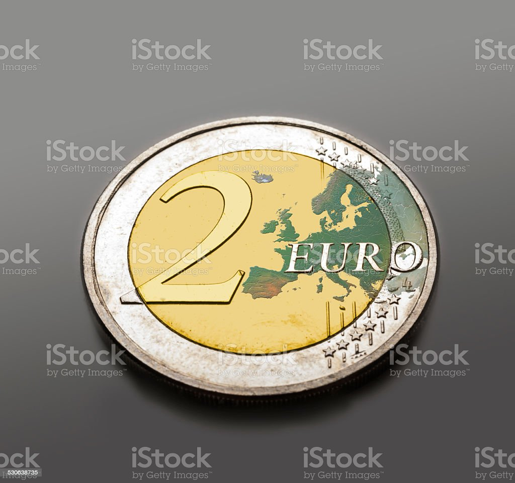 Eurocoin with satelite image stock photo