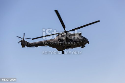 Kabul, Afghanistan-24 April 2016: RAF Eurocopter SA 330 Puma military helicopter in flight.