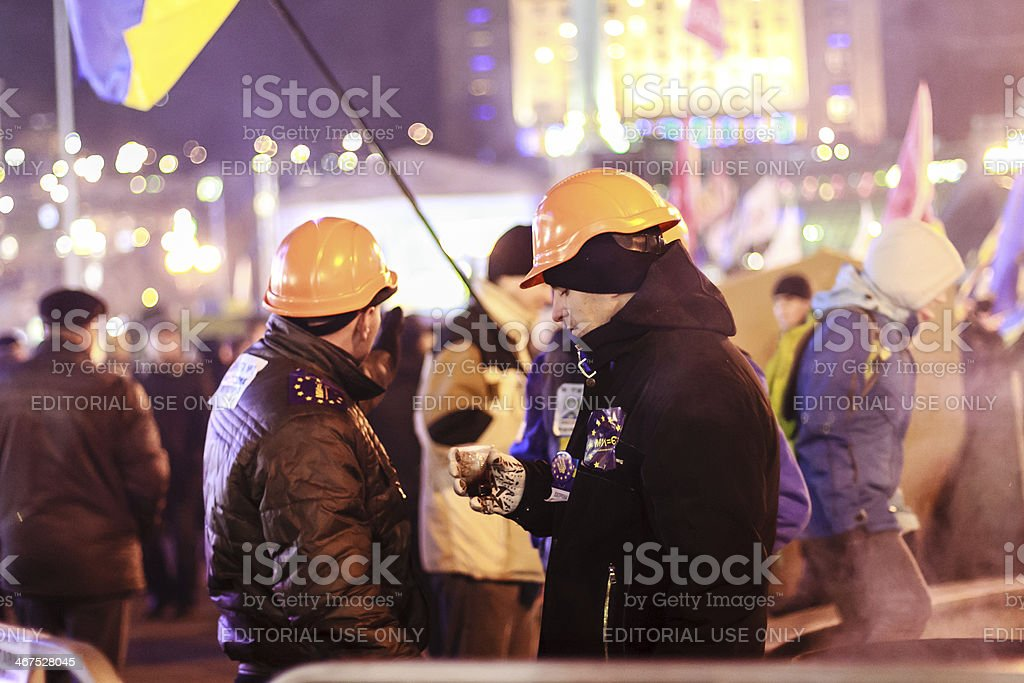 Euromaidan protesters rest royalty-free stock photo