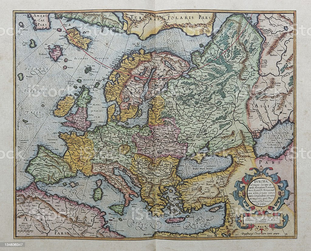 Europa map of 1595 stock photo