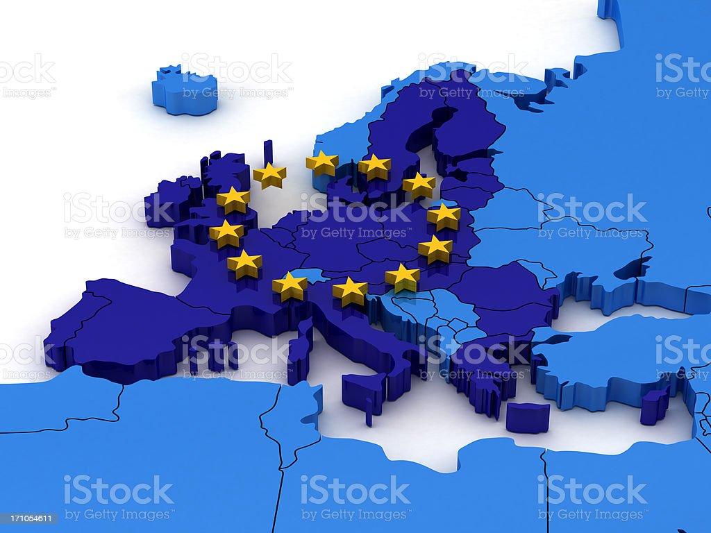 Europa Map With European Union stock photo