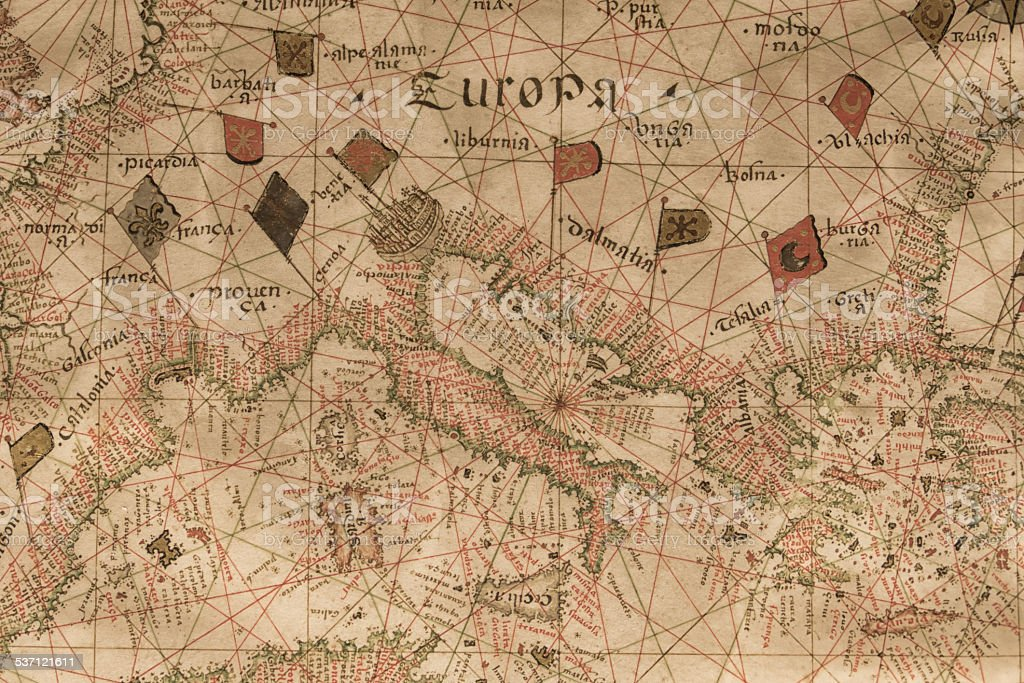 Europa old map stock photo