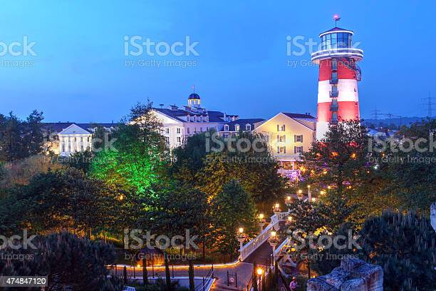 Rust, Germany - May 15, 2015: Skyline view of thematic Hotel Bell Rock in Europa Park, Rust, Germany. EuropaPark is the largest theme park in Germany and the second most popular in Europe, located in Rust, between Freiburg and Strasbourg.