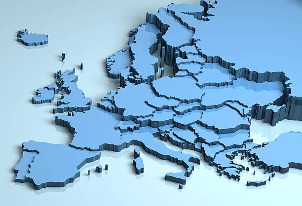 europe 3d - europe map stock photos and pictures