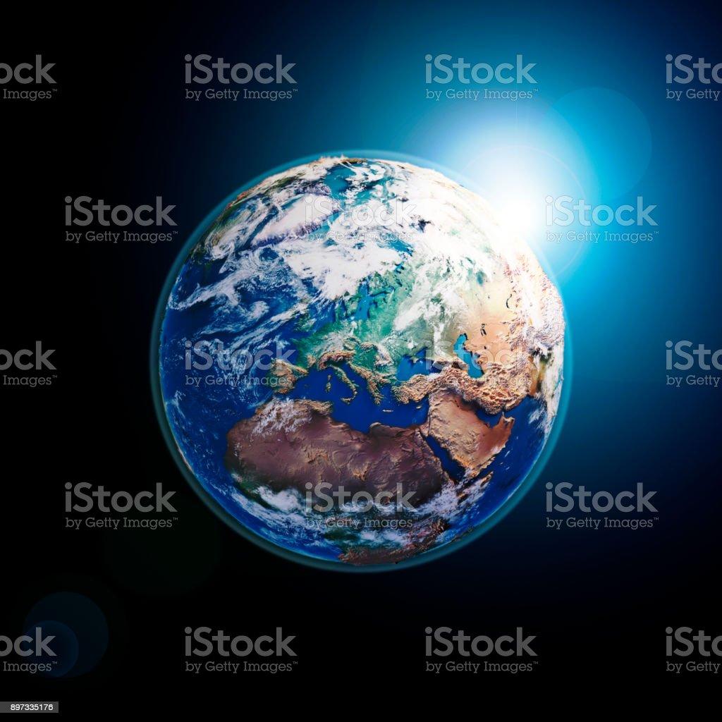 Europa 3D Render Planet Erde Wolken dunkler Raum – Foto