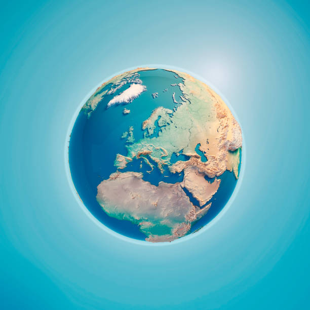 europa-3d render-erde - landkartenillustrationen stock-fotos und bilder