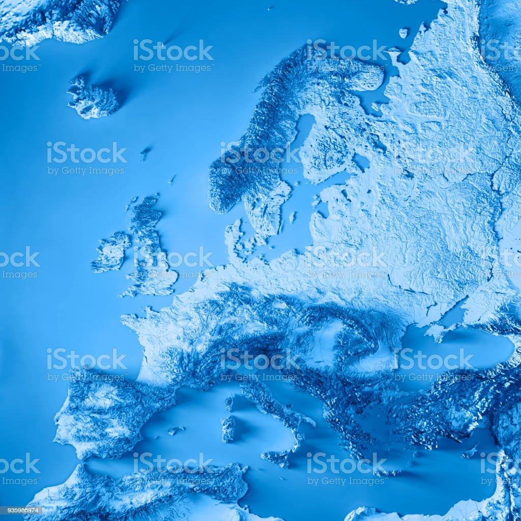 Europa 3D-Render topographische Karte blau – Foto