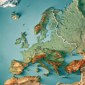 Europe 3D Render Topographic Map Color Border