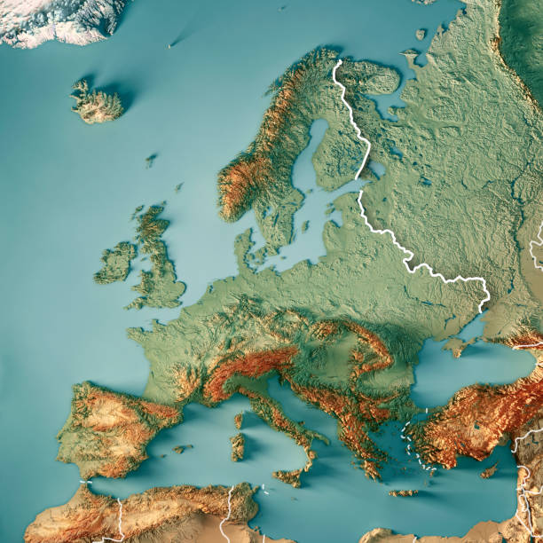 europe 3d render topographic map color border - europe map stock photos and pictures
