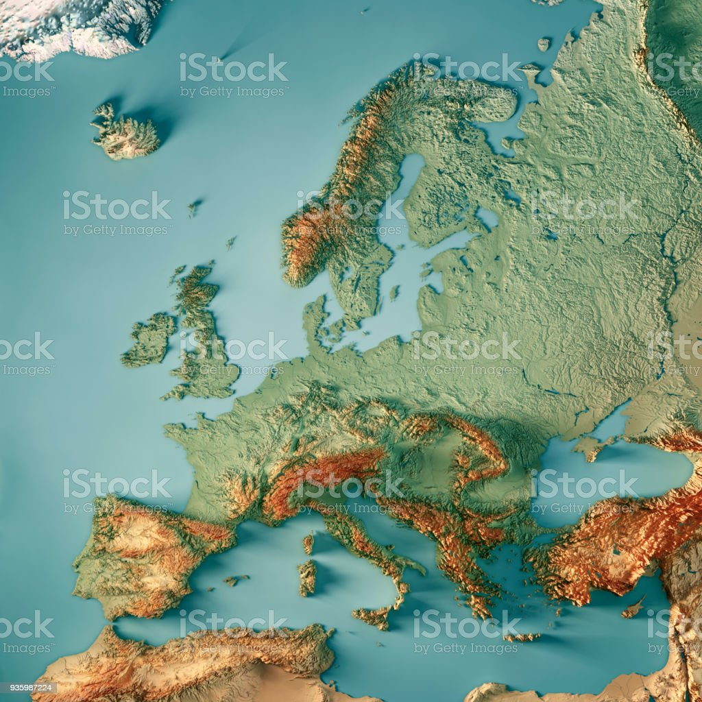 Europe 3D Render Topographic Map Color stock photo