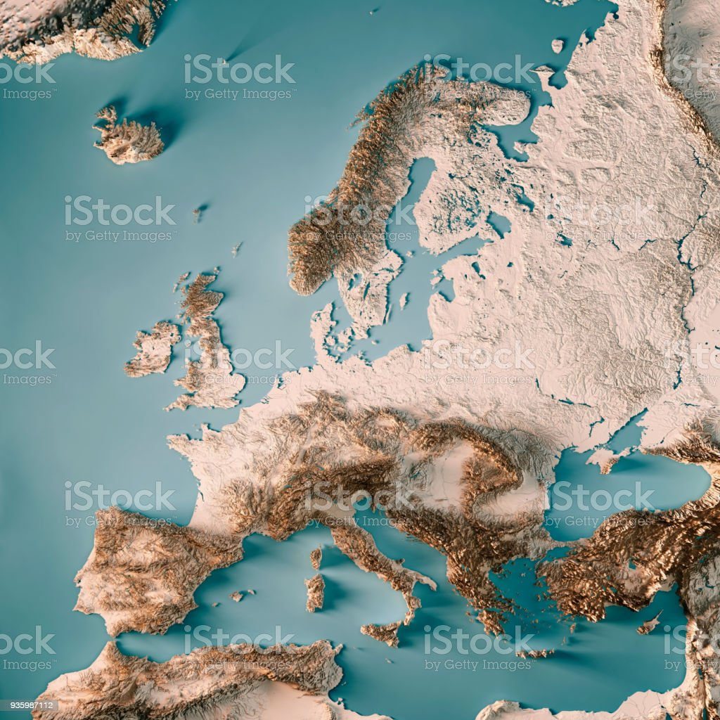 Europe 3D Render Topographic Map Neutral stock photo