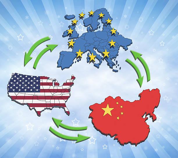 USA, Europe and China Interaction. bildbanksfoto