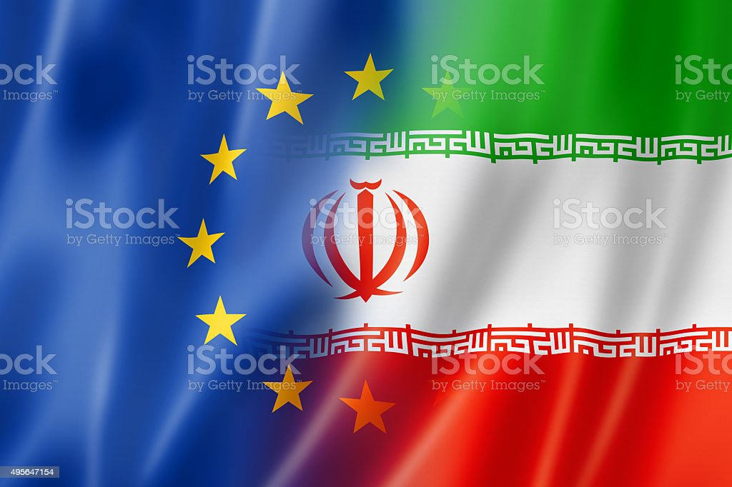 Europe and Iran flag stock photo
