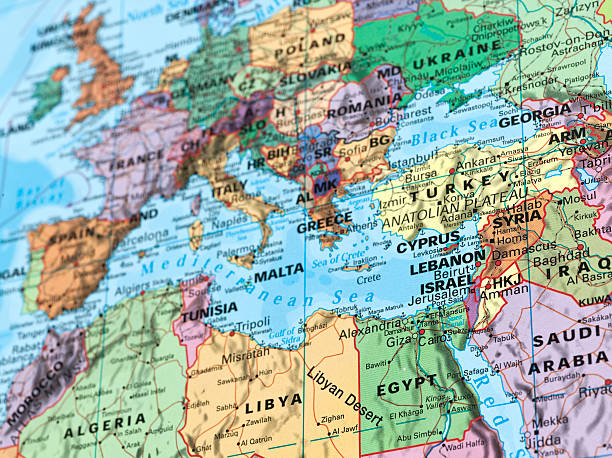 europe and Mediterranean map stock photo