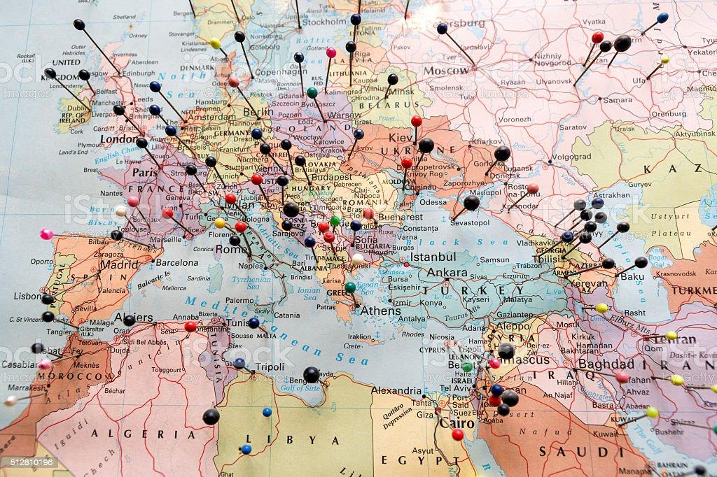 Cartina Geografica Europa E Africa.Leuropa E Nord Africa Mappa Fotografie Stock E Altre Immagini Di