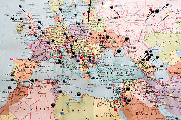europe and north africa map - europe map stock photos and pictures