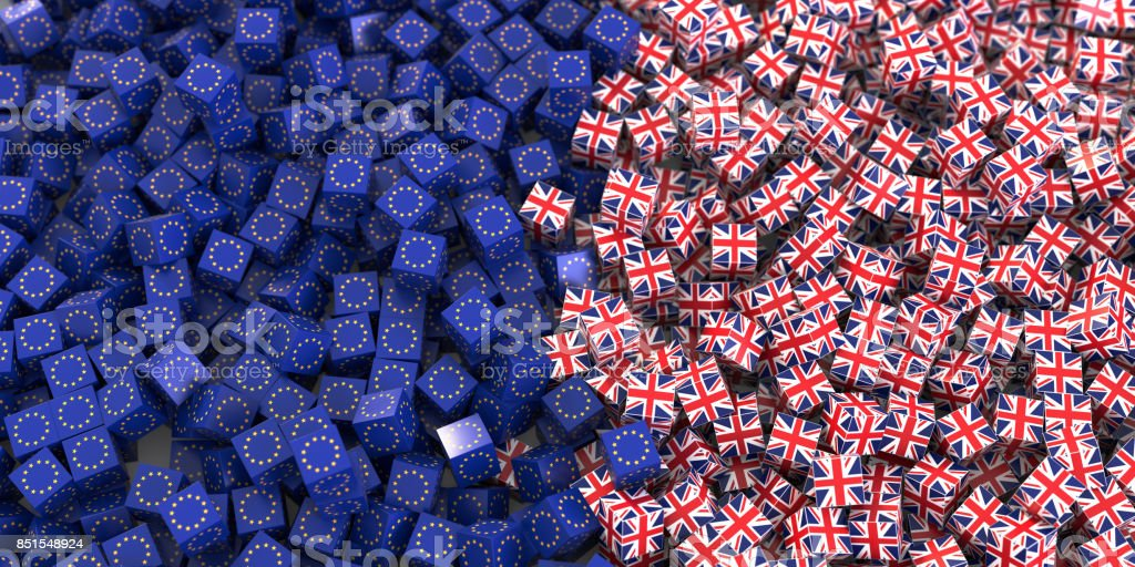 Europe and United Kingdom political and economic relationship, 3d rendering background, Brexit concepts stock photo