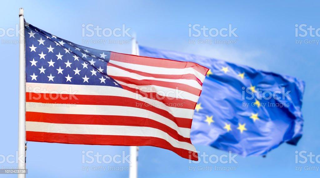 Europe and USA flag stock photo