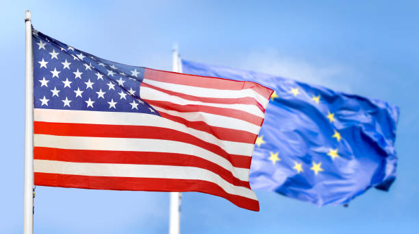 Europe and USA flag stock photo
