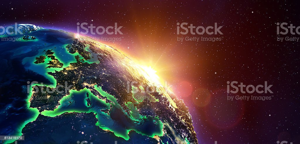 Europe At Golden Sunrise - View From Space stock photo